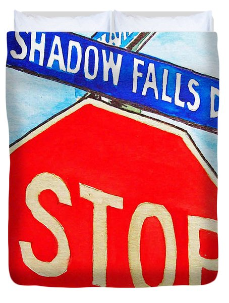 Stop Sign Sketchbook Project Down My Street Duvet Cover by Irina Sztukowski