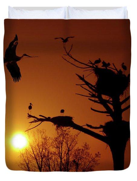 Storks Duvet Cover by Carlos Caetano