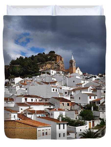 Storm Clouds Over Ardales Spain Duvet Cover by Mary Machare
