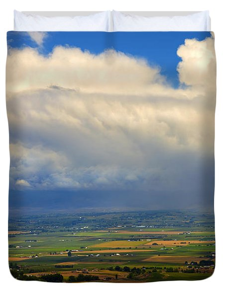 Storm over the Kittitas Valley Duvet Cover by Mike  Dawson