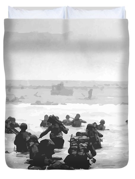 Storming The Beach On D-Day  Duvet Cover by War Is Hell Store