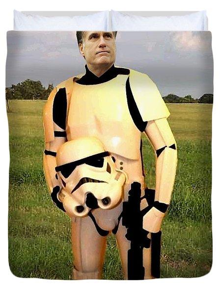 Stormtrooper Mitt Romney Duvet Cover by Paul Van Scott