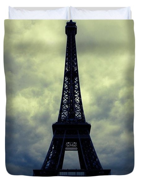 Stormy Day In Paris Duvet Cover by Carol Groenen
