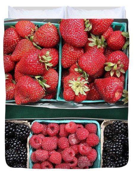 Strawberries Blackberries Rasberries - 5d17809 Duvet Cover by Wingsdomain Art and Photography