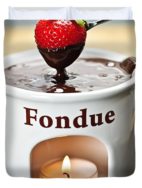 Strawberry Dipped In Chocolate Fondue Duvet Cover by Elena Elisseeva