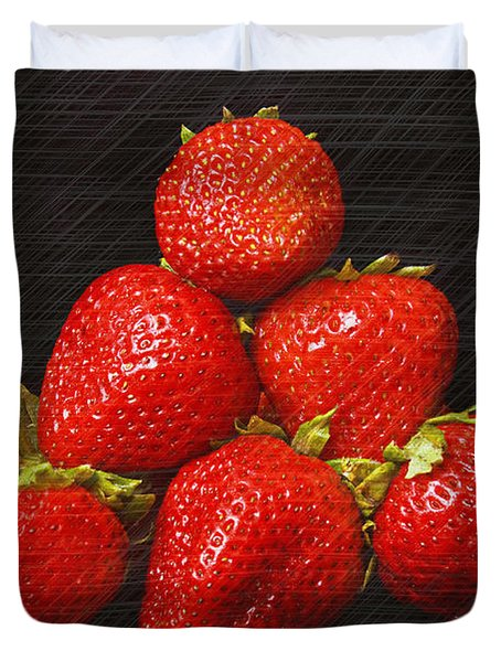 Strawberry Pyramid On Black Duvet Cover by Andee Design
