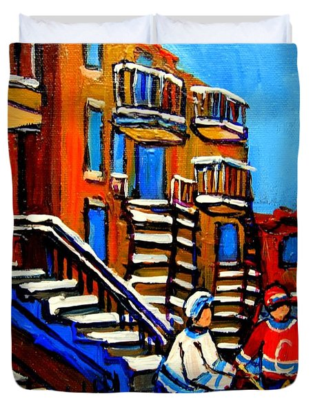 Street Hockey Near Staircases Montreal Winter Scene Duvet Cover by Carole Spandau