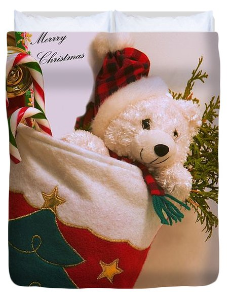 Stuffed Christmas Stocking Duvet Cover by Carson Ganci