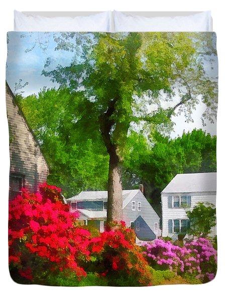 Suburban Azalea Garden Duvet Cover by Susan Savad