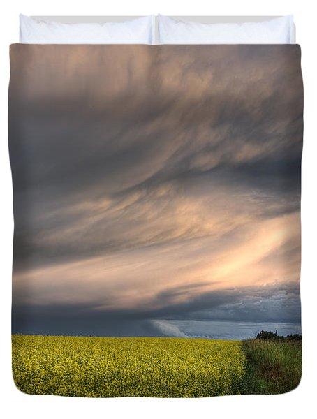 Summer Evening Storm Blowing Over Ripe Duvet Cover by Dan Jurak