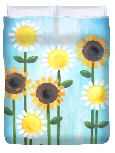 Summer Love Daisies Duvet Cover by Renee Womack