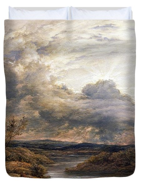 Sun Behind Clouds Duvet Cover by John Linnell