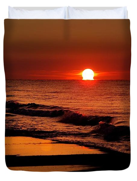 Sun Emerging From The Water Duvet Cover by Michael Thomas