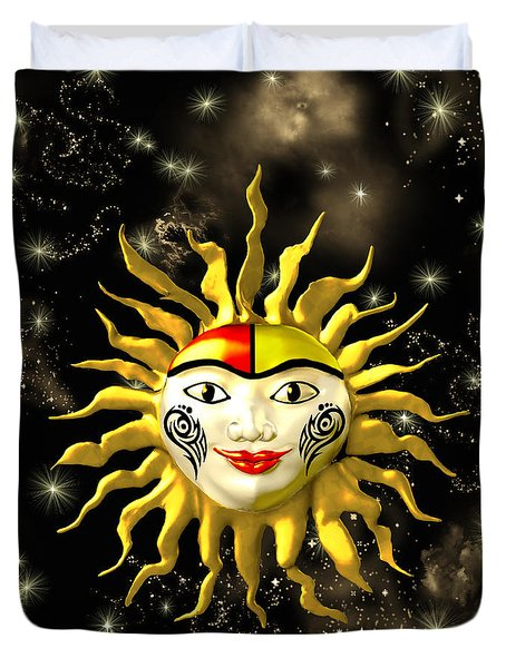 Sun Face  Duvet Cover by Methune Hively