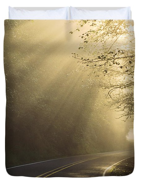 Sun Rays On Road Duvet Cover by Ron Sanford and Photo Researchers