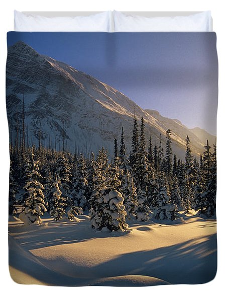 Sun Setting Behind Trees And Mountain Duvet Cover by Mike Grandmailson