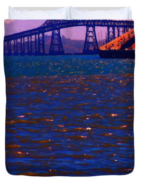 Sun Setting Beyond The Richmond-San Rafael Bridge - California - 5D18435 Duvet Cover by Wingsdomain Art and Photography