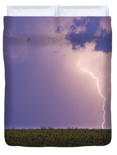 Sunflower Fields Lightning Storm Nature Print Duvet Cover by James BO  Insogna