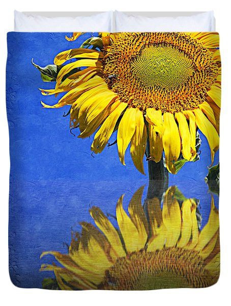 Sunflower Reflection Duvet Cover by Andee Design