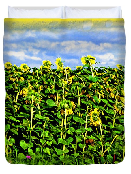 Sunflowers in France Duvet Cover by Joan  Minchak
