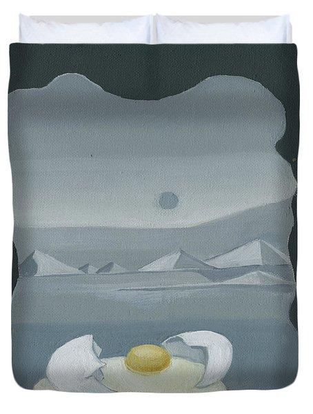 Sunny Side Up Breakfast Yellow White Egg With Broken Shell In Surrealistic Desert Landscape Fantasy Duvet Cover by Rachel Hershkovitz