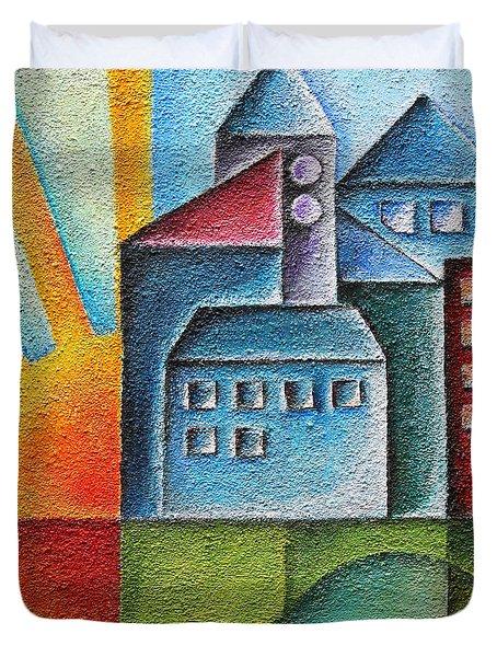 Sunny Town Duvet Cover by Jutta Maria Pusl