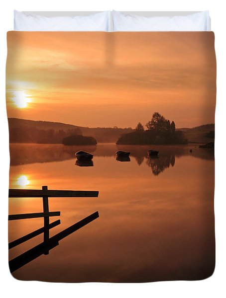 Sunrise at Knapps Loch Duvet Cover by Grant Glendinning