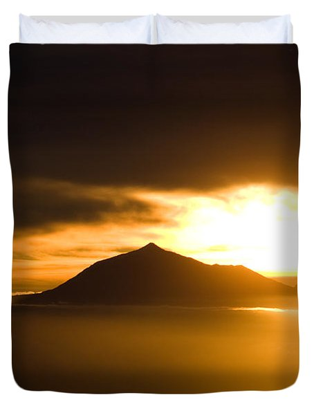sunrise behind Mount Teide Duvet Cover by Ralf Kaiser