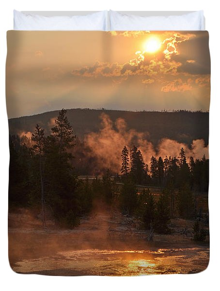 Sunrise Near Yellowstone's Punch Bowl Spring Duvet Cover by Bruce Gourley