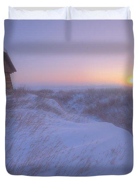 Sunrise On Abandoned, Snow-covered Duvet Cover by Dan Jurak