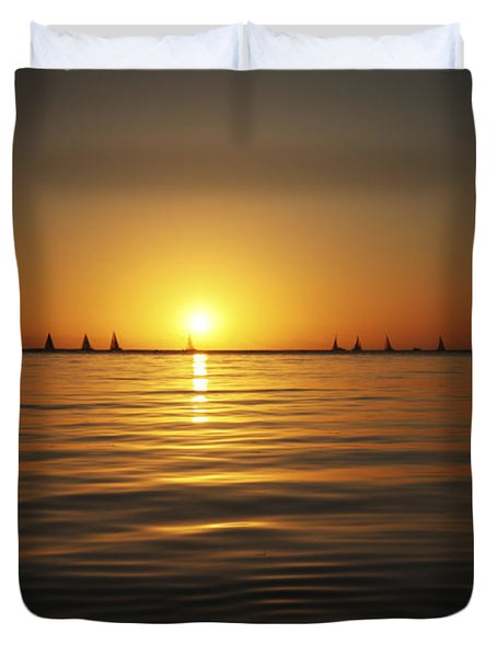 Sunset And Sailboats Duvet Cover by Brandon Tabiolo - Printscapes