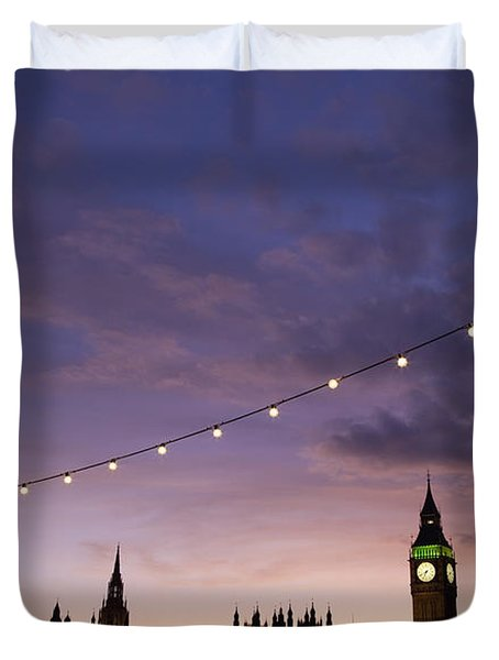 Sunset Behind Big Ben And The Houses Duvet Cover by Axiom Photographic