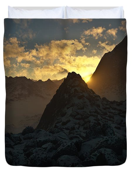 Sunset In The Stony Mountains Duvet Cover by Hakon Soreide