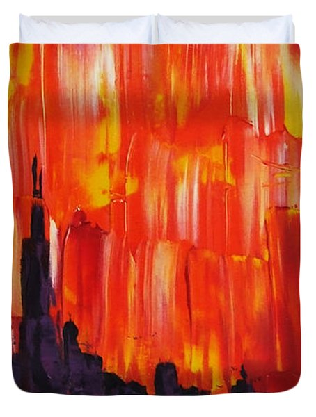 Sunset Of Melting Waterfall Behind Chicago Skyline Or Storm Reflecting Architecture And Buildings Duvet Cover by M Zimmerman MendyZ