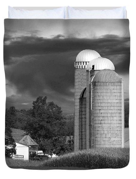 Sunset On The Farm BW Duvet Cover by David Dehner