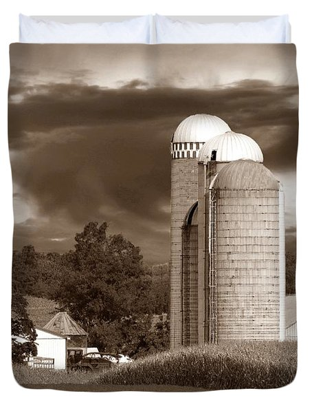 Sunset On The Farm S Duvet Cover by David Dehner
