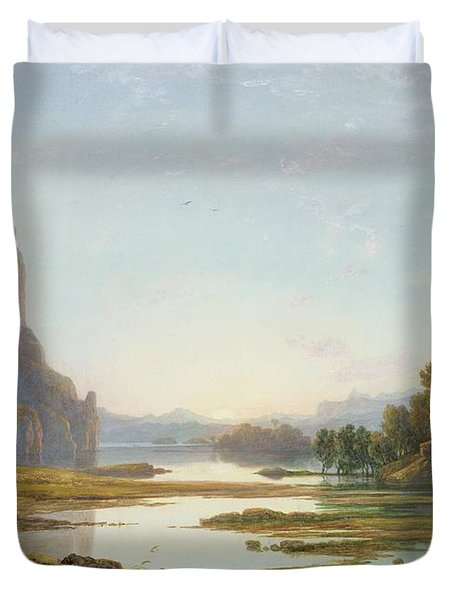 Sunset Over A River Landscape Duvet Cover by Francis Danby