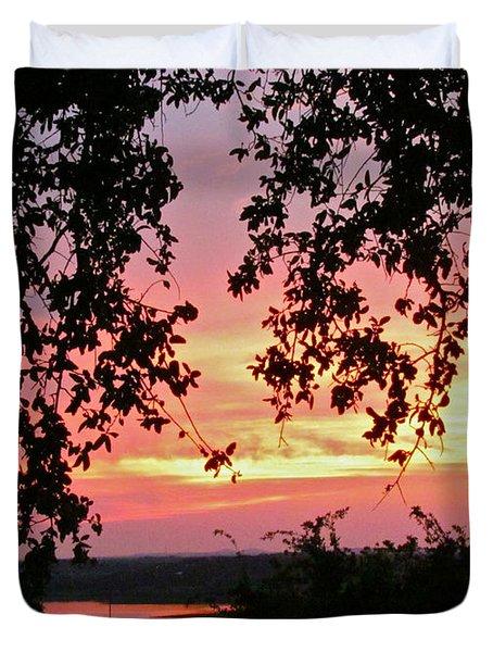 Sunset Over Canyon Lake Duvet Cover by Randi Shenkman