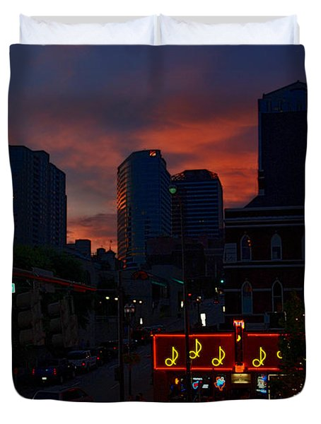 Sunset over Nashville Duvet Cover by Susanne Van Hulst