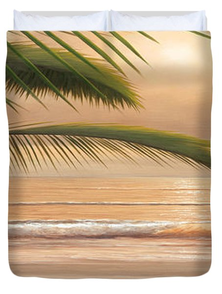 Sunset Surf Panoramic Duvet Cover by Diane Romanello