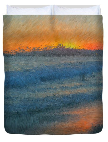 Sunset Surfers Duvet Cover by Heidi Smith