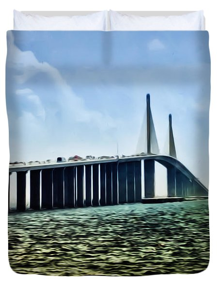 Sunshine Skyway Bridge - Tampa Bay Duvet Cover by Bill Cannon