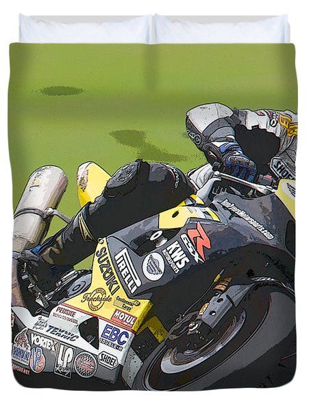 Superbike Racer II Duvet Cover by Clarence Holmes