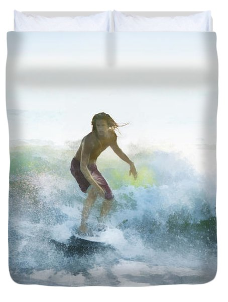Surfer On A Morning Wave Duvet Cover by Francesa Miller