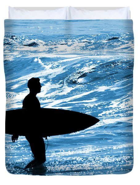 Surfer Silhouette Duvet Cover by Carlos Caetano