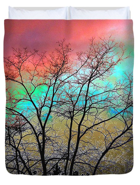 Surreal Winter Sky Duvet Cover by Will Borden