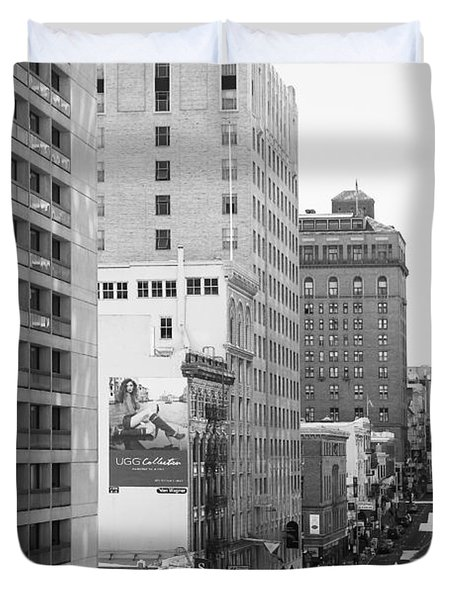 Sutter Street West View . Black and White Photograph 7D7506 Duvet Cover by Wingsdomain Art and Photography