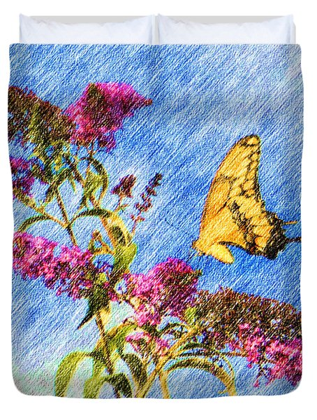 Swallowtail And Butterfly Bush Duvet Cover by Heidi Smith