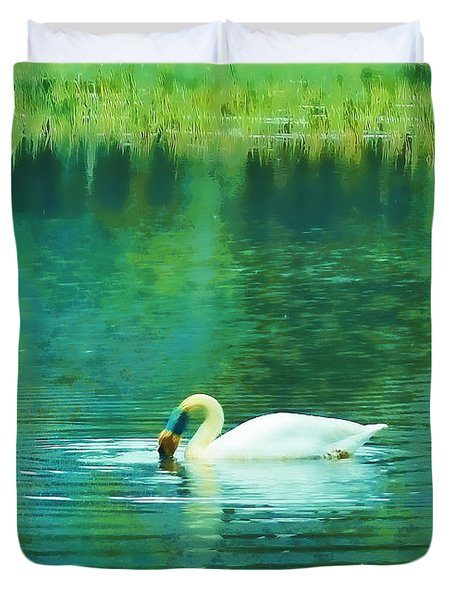 Swan Lake Duvet Cover by Judi Bagwell