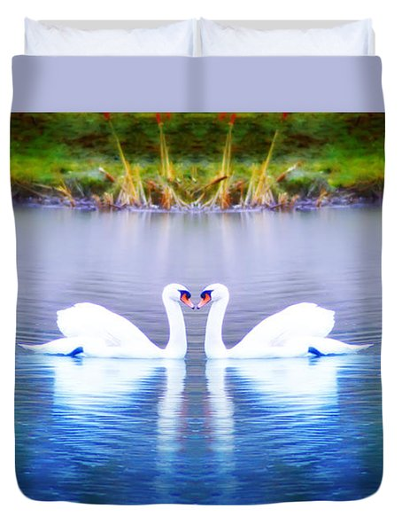 Swan Love Duvet Cover by Bill Cannon
